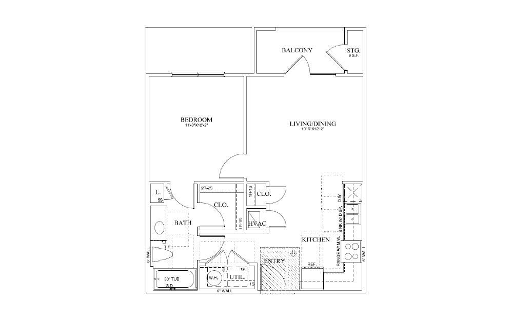 Clover - 1 bedroom floorplan layout with 1 bath and 650 square feet (1st floor 2D)
