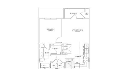 Clover - 1 bedroom floorplan layout with 1 bath and 650 square feet
