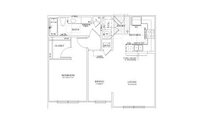 Indigo - 1 bedroom floorplan layout with 1 bath and 794 square feet