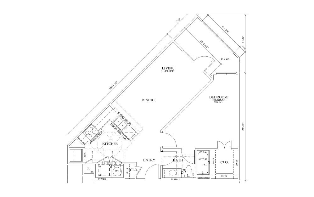 Sage - 1 bedroom floorplan layout with 1 bath and 690 square feet (1st floor 2D)