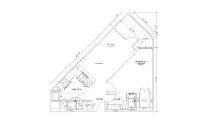 Sage - 1 bedroom floorplan layout with 1 bath and 690 square feet