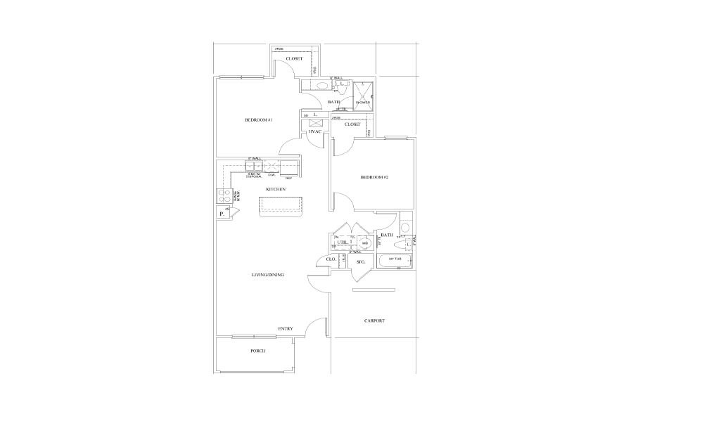 Willow - 2 bedroom floorplan layout with 2 bath and 1090 square feet (1st floor 2D)